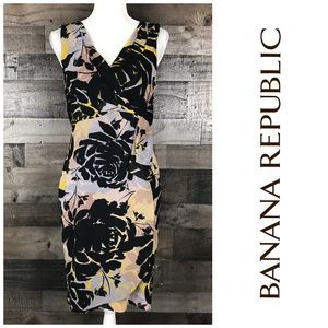 Banana Republic Floral Dress Faux Wrap Detail Sz 8